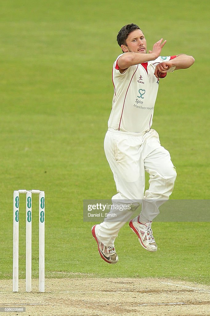 Simon Kerrigan of Lancashire bowls during day three of the Specsavers County Championship: Division One match between Yorkshire and Lancashire at Headingley on May 31, 2016 in Leeds, England.