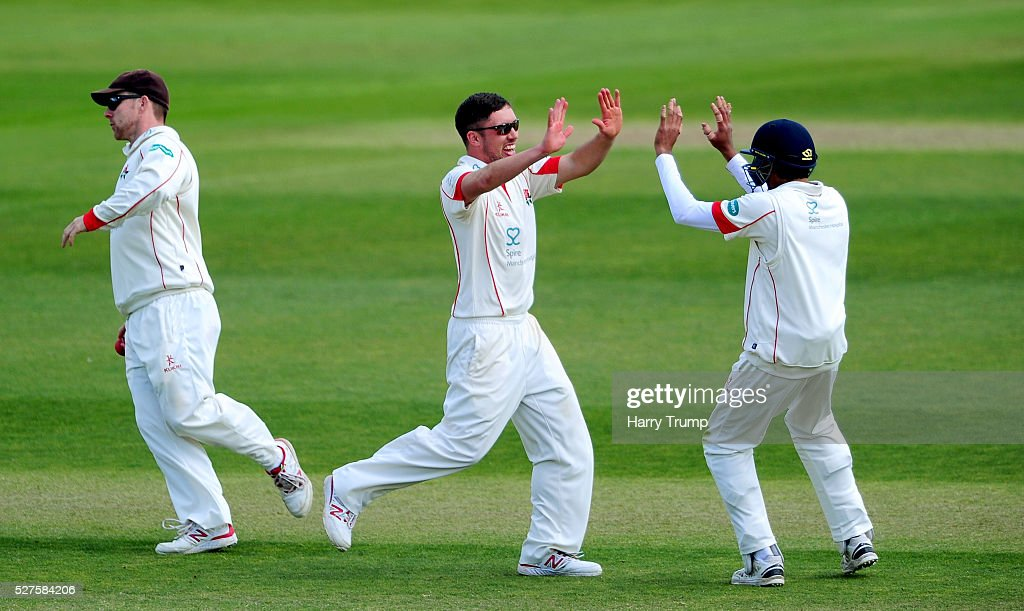 <a gi-track='captionPersonalityLinkClicked' href=/galleries/search?phrase=Simon+Kerrigan&family=editorial&specificpeople=5797385 ng-click='$event.stopPropagation()'>Simon Kerrigan</a> of Lancashire celebrates after dismissing Tom Abell of Somerset during Day Three of the Specsavers County Championship Division One match between Someret and Lancashire at the County Ground on May 03, 2016 in Somerset, United Kingdom.
