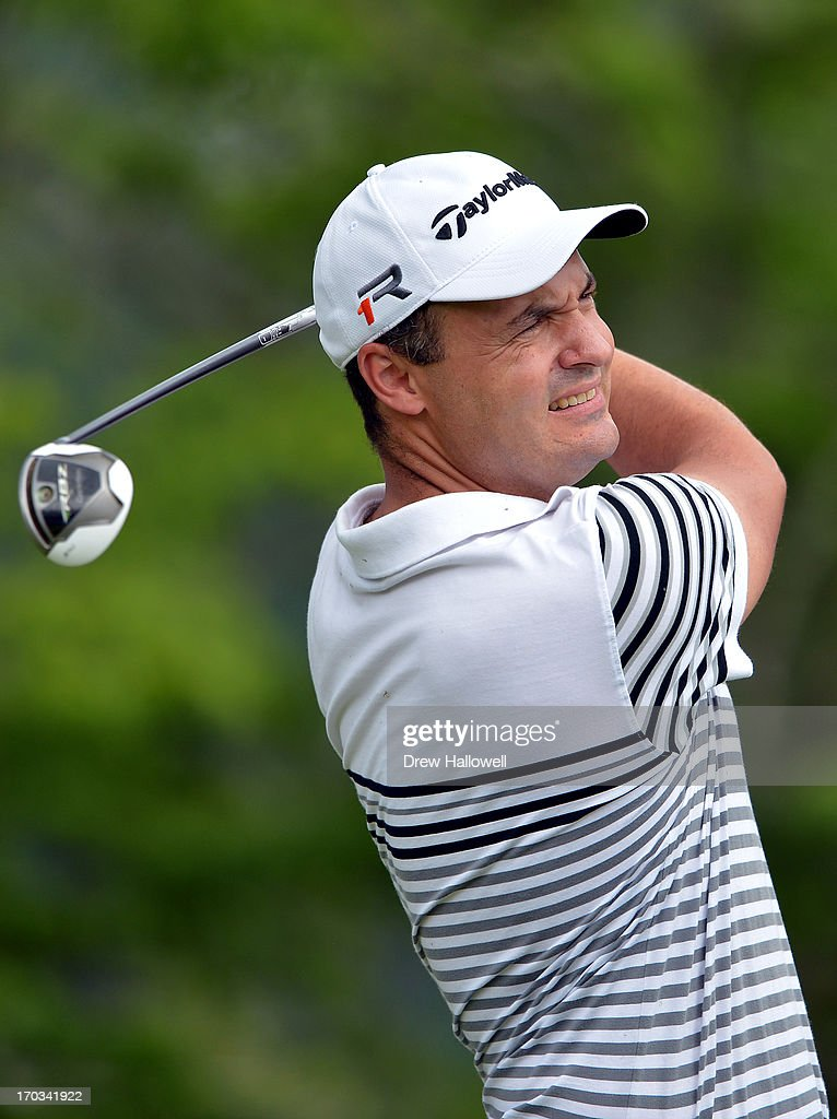 Simon Khan of England hits a tee shot during a practice round prior to the start of the 113th U.S. Open at Merion Golf Club on June 11, 2013 in Ardmore, Pennsylvania.