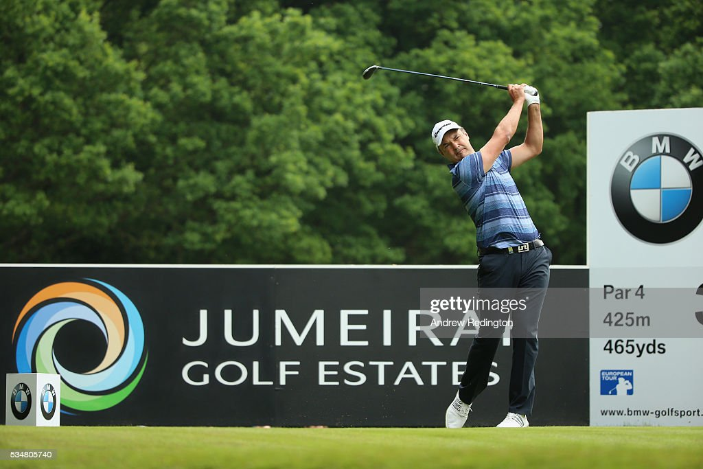 Simon Khan of England tees off on the 3rd hole during day three of the BMW PGA Championship at Wentworth on May 28, 2016 in Virginia Water, England.