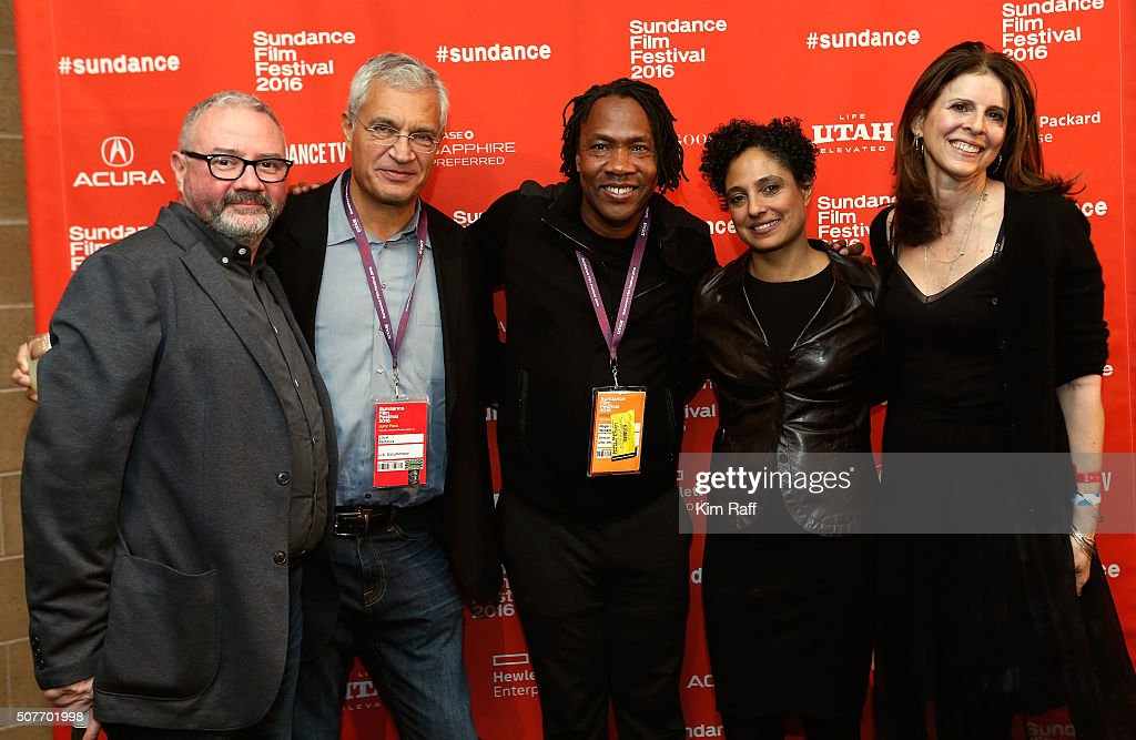 Simon Kilmurry Louie Psihoyos Roger Ross Williams Shola Lynch and Amy Ziering pose backstage at the Sundance Film Festival Awards Ceremony during the...
