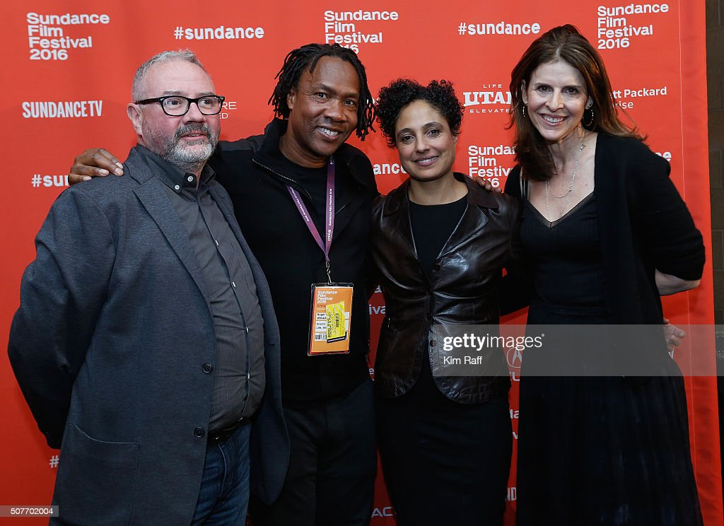 Simon Kilmurry Roger Ross Williams Shola Lynch and Amy Ziering pose backstage at the Sundance Film Festival Awards Ceremony during the 2016 Sundance...