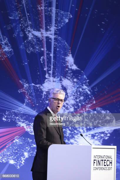 Simon Kirby economic secretary to UK Treasury speaks during the International Fintech Conference in London UK on Wednesday April 12 2017 Bank of...