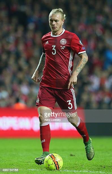 Simon Kjaer of Denmark during the UEFA EURO 2016 Qualifier PlayOff Second Leg match between Denmark and Sweden at Parken Stadium on November 17 2015...