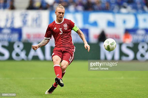 Simon Kjaer of Denmark in action during the international friendly match between Denmark and Bulgaria at the Suita City Football Stadium on June 7...