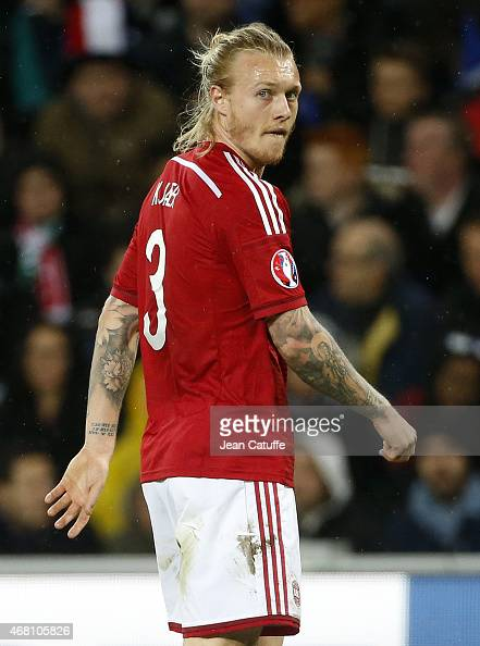 Simon Kjaer of Denmark looks on during the international friendly match between France and Denmark at Stade GeoffroyGuichard on March 29 2015 in...