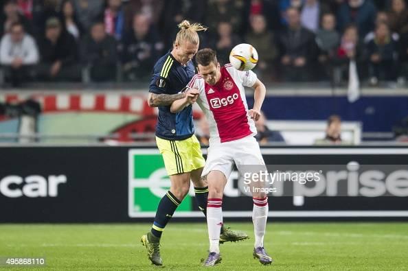 Simon Kjaer of Fenerbahce Arkadiusz Milik of Ajax during the UEFA Europa League match between Ajax and Fenerbahce on November 5 2015 at the Amsterdam...