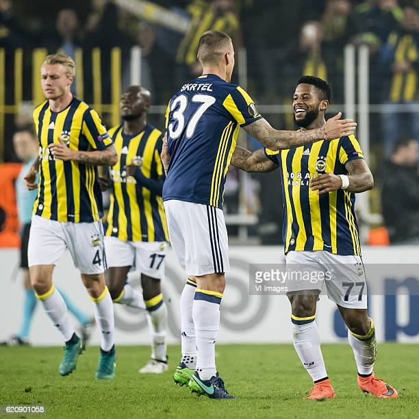 Simon Kjaer of Fenerbahce Moussa Sow of Fenerbahce Martin Skrtel of Fenerbahce Jeremain Lens of Fenerbahceuring the UEFA Europa Leaguegroup A match...