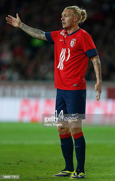 Simon Kjaer of Lille gestures during the French Ligue 1 match between OSC Lille and AS Monaco at the Grand Stade Metropole Villeneuved'Ascq on...