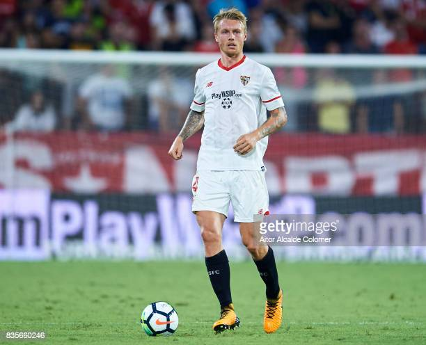 Simon Kjaer of Sevilla FC in action during the La Liga match between Sevilla and Espanyol at Estadio Ramon Sanchez Pizjuan on August 19 2017 in...