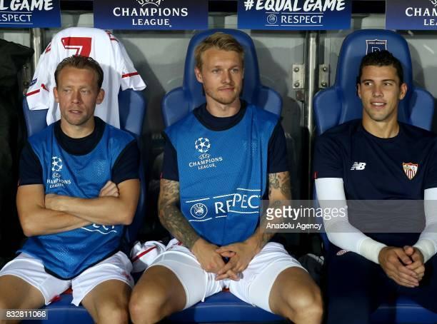 Simon Kjaer of Sevilla FC sits on the bench during the UEFA Champions League playoff match between Medipol Basaksehir and Sevilla FC at Basaksehir...