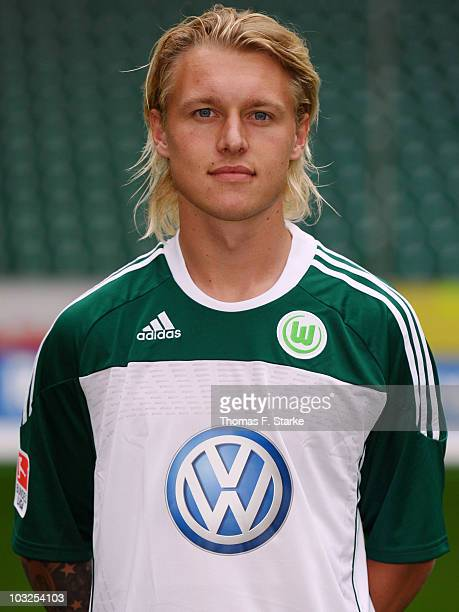 Simon Kjaer poses during the VfL Wolfsburg Team Presentation at the Volkswagen Arena on August 5 2010 in Wolfsburg Germany