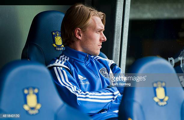 Simon Kjar looks on before a Denmark training session ahead of the International friendly match between Hungary and Denmark on Brondby Stadion on May...