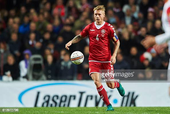 Simon Kjar of Denmark controls the ball during the FIFA World Cup 2018 european qualifier match between Denmark and Montenegro at Telia Parken...