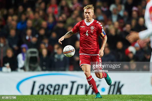 Simon Kjar of Denmark controls the ball during the FIFA World Cup 2018 european qualifier match between Denmark and Montenegro at Telia Parken...