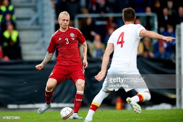Simon Kjar of Denmark controls the ball during the International Friendly match between Denmark and Montenegro at Viborg Stadion on June 8 2015 in...