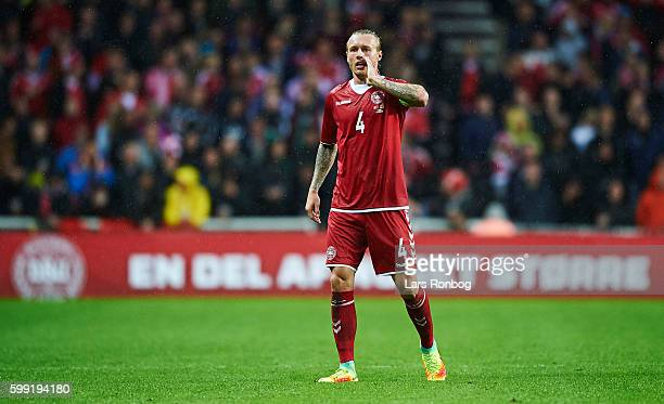 Simon Kjar of Denmark gestures during the FIFA World Cup 2018 european qualifier match between Denmark and Armenia at Telia Parken Stadium on...