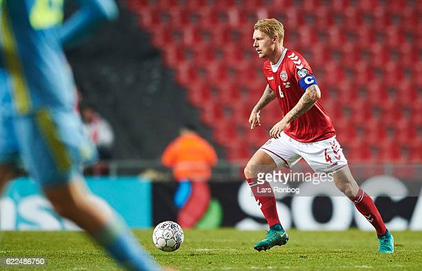 Simon Kjar of Denmark in action during the FIFA 2018 World Cup Qualifier match between Denmark and Kazakhstan at Telia Parken Stadium on November 11...