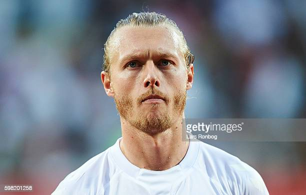 Simon Kjar of Denmark looks on prior to the international friendly match between Denmark and Liechtenstein at Casa Arena on August 31 2016 in Horsens...