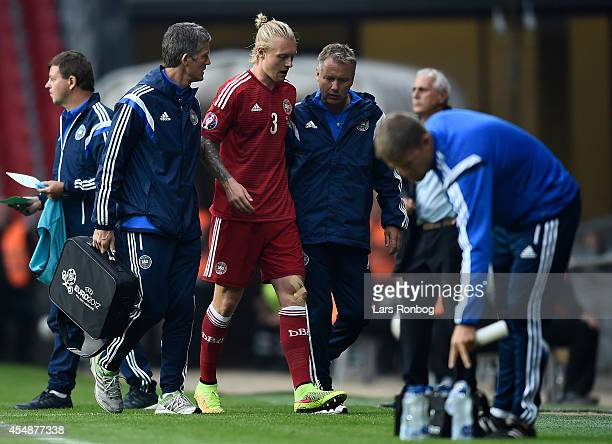 Simon Kjar of Denmark walks from the pitch during the UEFA 2016 Group I Qualifier between Denmark and Armenia at Parken Stadium on September 7 2014...