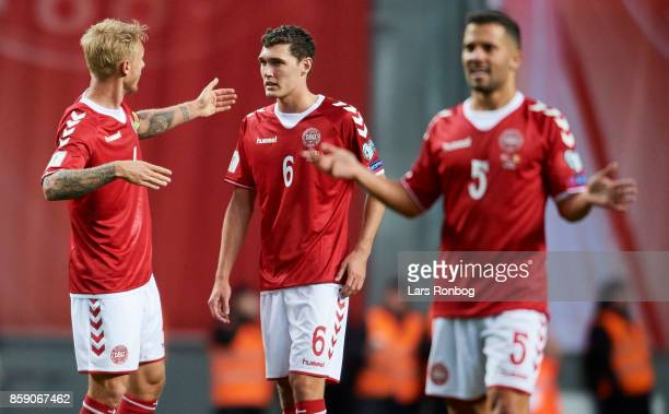 Simon Kjar speaks to Andreas Christensen of Denmark during the FIFA World Cup 2018 qualifier match between Denmark and Romania at Telia Parken...