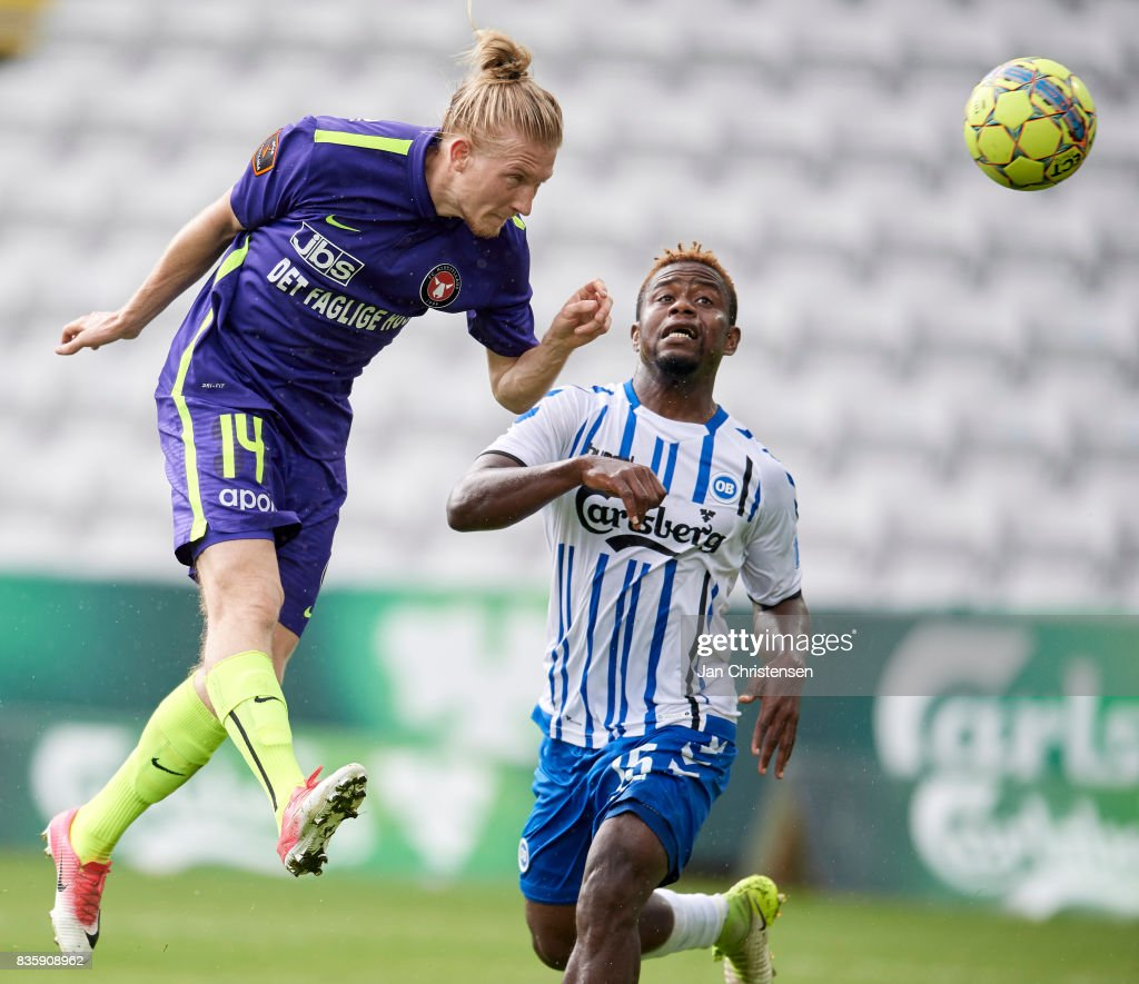 Simon Kroon of FC Midtjylland heading the ball during the Danish Alka Superliga match between OB Odense and FC Midtjylland at TREFOR Park on August 20, 2017 in Odense, Denmark.