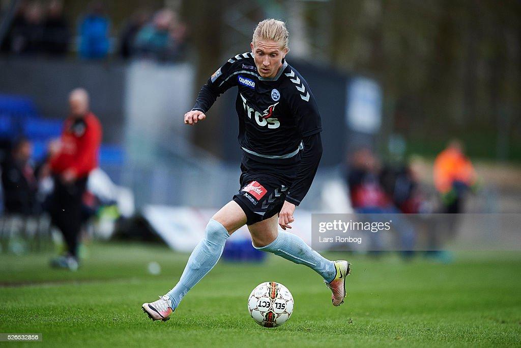 Simon Kroon of Sonderjyske controls the ball during the Danish Alka Superliga match between Hobro IK and Sonderjyske at DS Arena on April 30, 2016 in Hobro, Denmark.