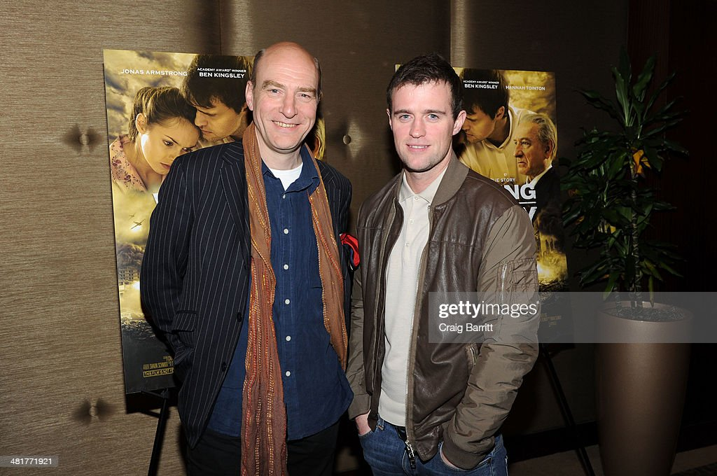 Simon Kunz and Jonas Armstrong attend the 'Walking With The Enemy' screening at Dolby 88 Theater on March 31, 2014 in New York City.