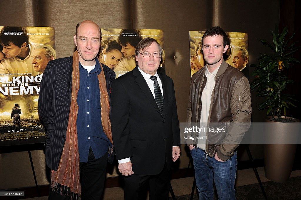 Simon Kunz, director Mark Schmidt and Jonas Armstrong attend the 'Walking With The Enemy' screening at Dolby 88 Theater on March 31, 2014 in New York City.