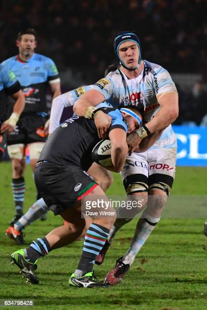 Simon Labouyrie of Bayonne and Bernard Le Roux of Racing 92 during the Top 14 match between Racing 92 and Aviron Bayonnais Bayonne on February 11...