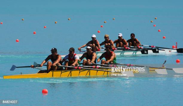 Simon Lack Daniel Murtagh Andrew Myers and Graeme Hill of Waikato trail behind the boat of Peter Taylor Hamish Bond Matthew Trott and Storm Uru of...