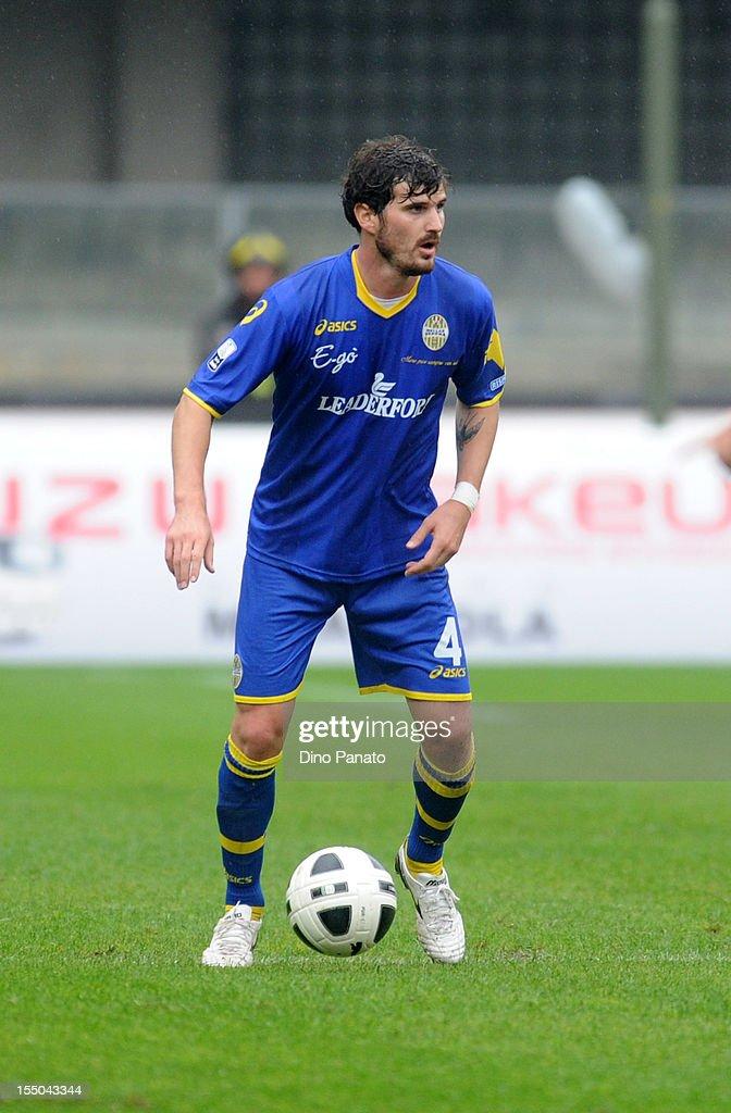 Simon Laner of Hellas Verona in action during the Serie B match between Hellas Verona FC and Virtus Lanciano at Stadio Marc'Antonio Bentegodi on October 27, 2012 in Verona, Italy.