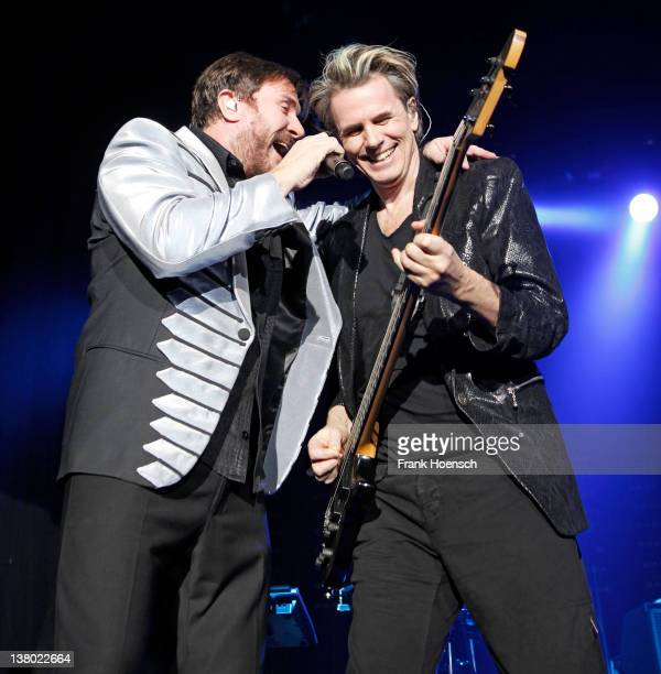 Simon Le Bon and John Taylor of the band Duran Duran perform live during a concert at the Columbiahalle on January 31 2012 in Berlin Germany