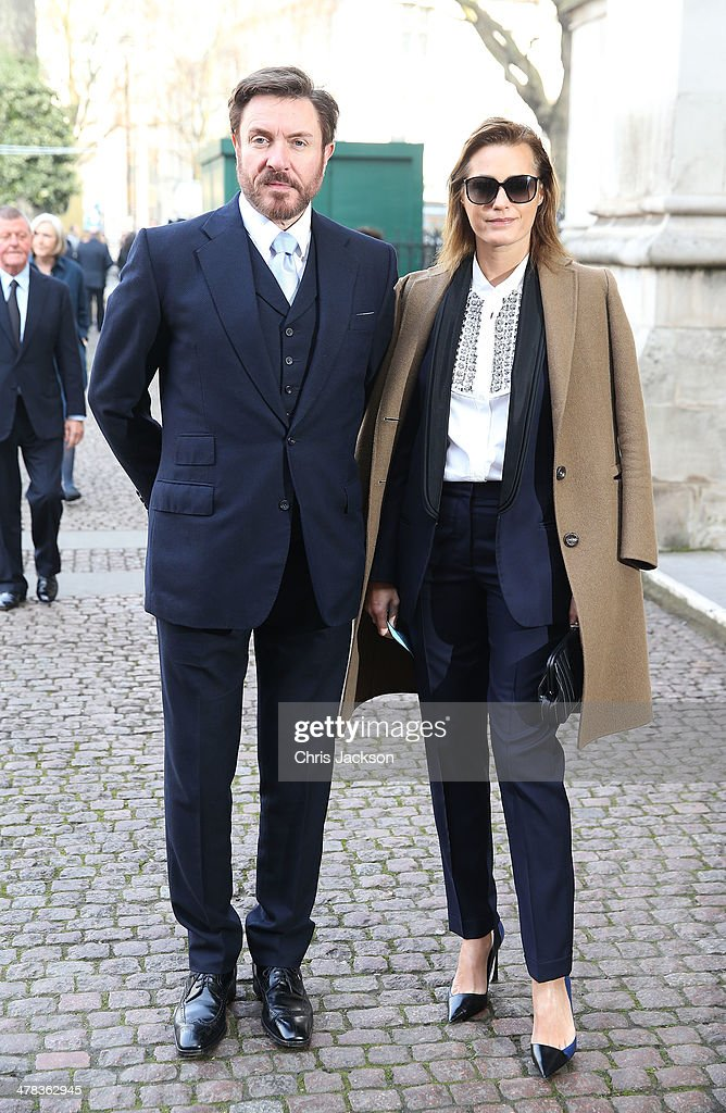 Simon Le Bon and Yasmin Le Bon attend a memorial service for Sir David Frost at Westminster Abbey on March 13 2014 in London England