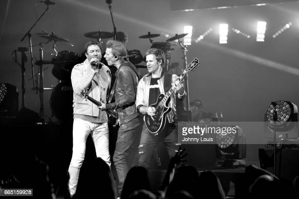Simon Le Bon John Taylor and Andy Taylor of Duran Duran perform on stage at Hard Rock Live at Seminole Hard Rock Hotel Casino Hollywood on April 5...