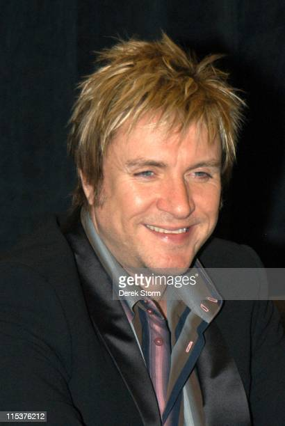Simon Le Bon of Duran Duran during Duran Duran in Store Signing for their New CD 'Astronaut' October 12 2004 at Virgin Megastore Times Square in New...