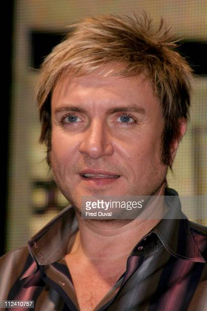 Simon Le Bon of Duran Duran during Duran Duran Sign Copies of Single ' Sunrise' at HMV in London Great Britain
