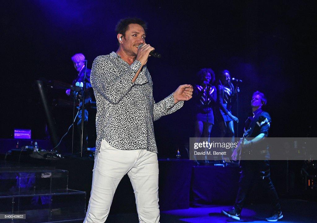 Simon Le Bon of Duran Duran performs at the UNAIDS Gala during Art Basel 2016 at Design Miami/ Basel on June 13, 2016 in Basel, Switzerland.