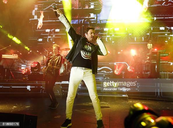 Simon Le Bon of the music group Duran Duran is seen performing at Bayfront Park Amphitheater on April 1 2016 in Miami Florida
