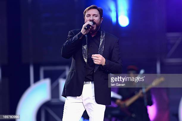 Simon Le Bon performs on stage at the 'Chime For Change The Sound Of Change Live' Concert at Twickenham Stadium on June 1 2013 in London England...