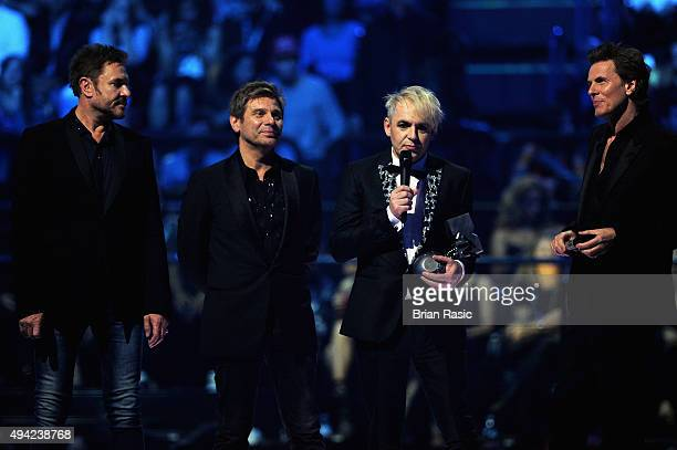 Simon Le Bon Roger Taylor Nick Rhodes and John Taylor of Duran Duran receive the Video Visionary Award on stage during the MTV EMA's 2015 at the...