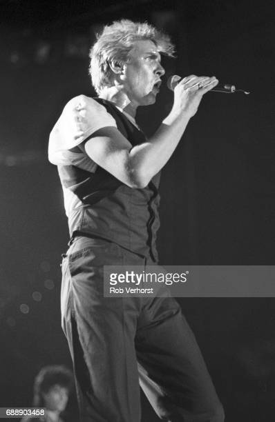 Simon LeBon of Duran Duran performs on stage Ahoy Rotterdam Netherlands 7th May 1987
