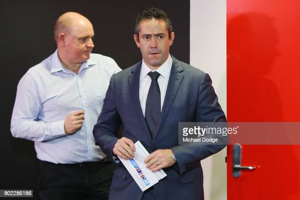 Simon Lethlean arrives to make a statement to the media during a press conference after the Bachar Houli Tribunal Decision at AFL House on June 28...