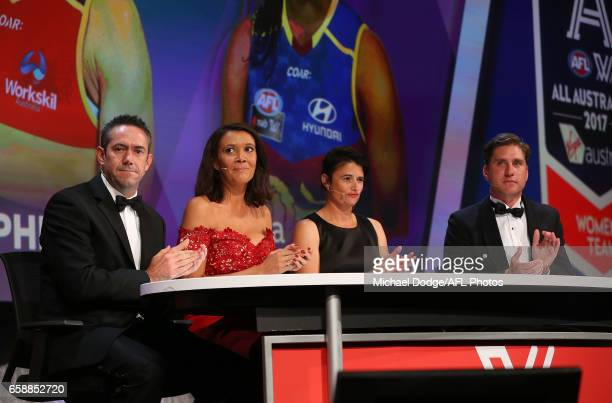 Simon Lethlean Shelley Ware Peta Searle and Josh Vanderloo look on during the The W Awards at the Peninsula on March 28 2017 in Melbourne Australia
