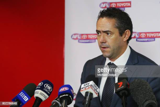 Simon Lethlean speaks to the media during a press conference after the Bachar Houli Tribunal Decision at AFL House on June 28 2017 in Melbourne...