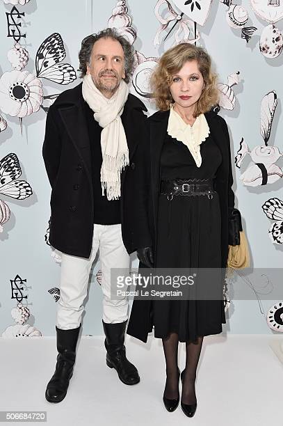 Simon Liberati and Eva Ionesco attend the Schiaparelli Haute Couture Spring Summer 2016 show as part of Paris Fashion Week on January 25 2016 in...