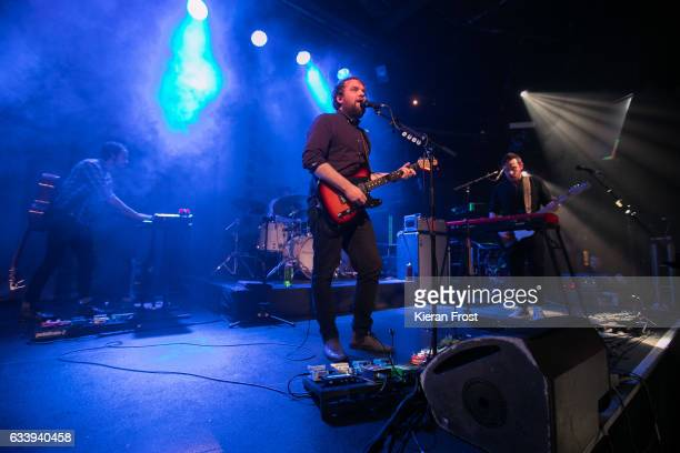 Simon Liddell Scott Hutchison and Billy Kennedy of Frightened Rabbit perform at The Academy on February 5 2017 in Dublin Ireland