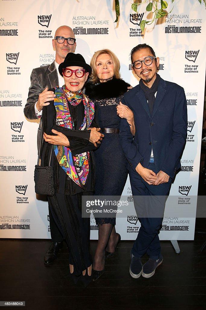 Simon Lock the founder of Australian Fashion Week Australian fashion designer Jenny Kee designer Carla Zampatti and Akira Isogawa pose at the...
