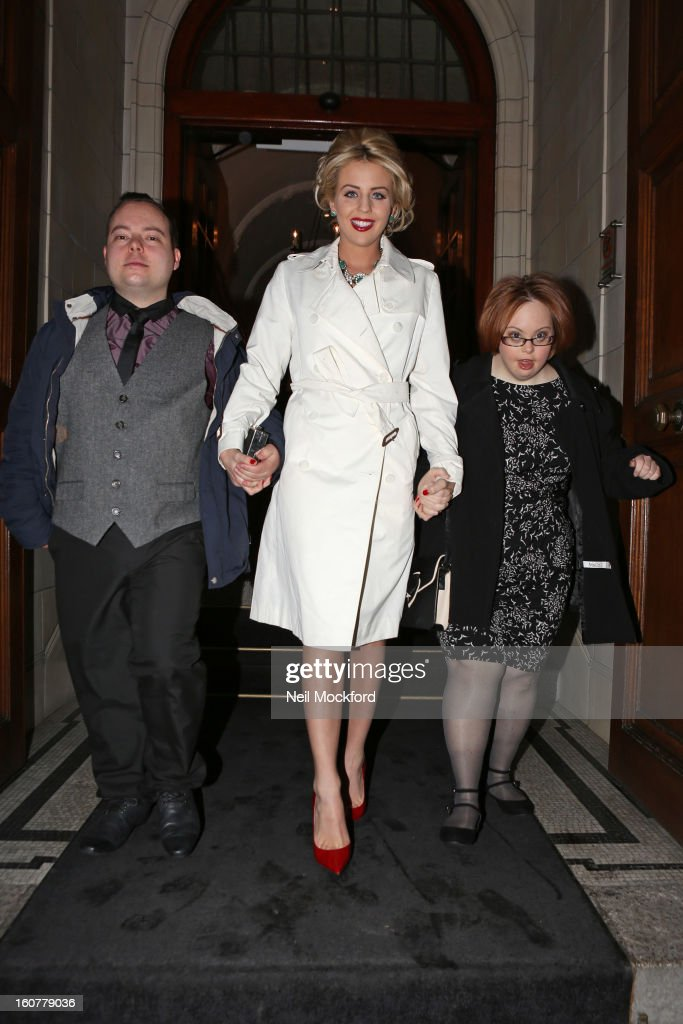 Simon Macgregor, Lydia Bright and Kate Brackley leaving The Courthouse Hotel, after the couple from The Undateables' makeover ahead of attending the 'Run For Your Wife' Film Premiere on February 5, 2013 in London, England.