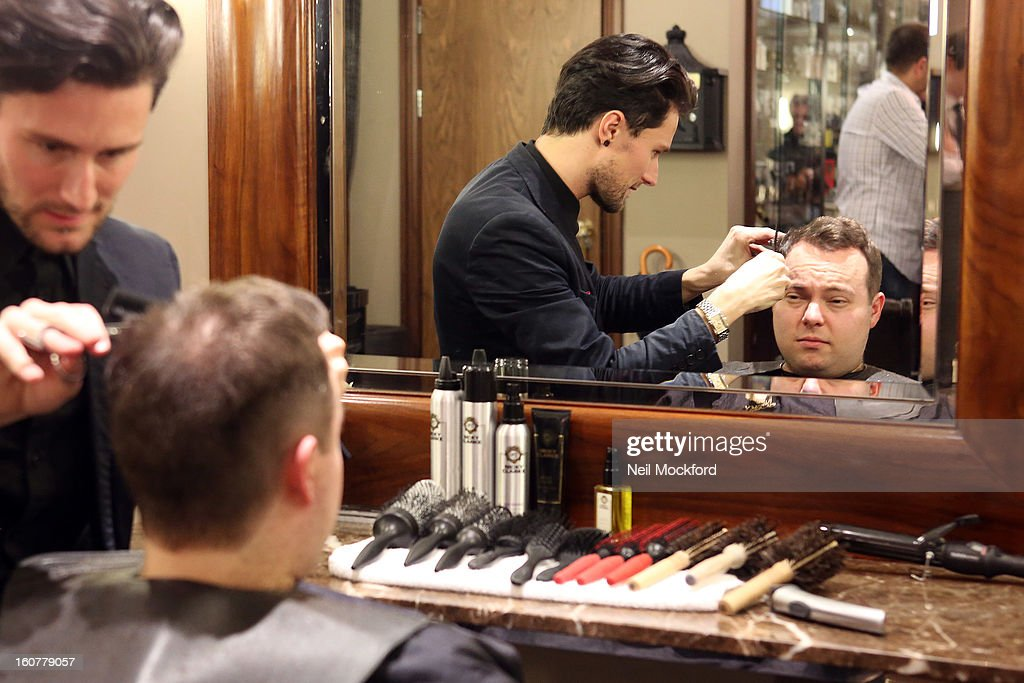 Simon Macgregor receives a makeover at Nicky Clarke Hair Salon on February 5, 2013 in London, England.